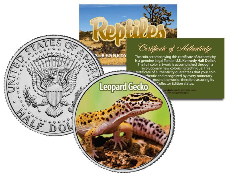 LEOPARD GECKO Collectible Reptiles JFK Half Dollar US Colorized Coin PET LIZARD