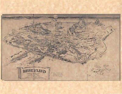 Vintage Style 1953 Walt Disney's Original Disneyland Map > Poster/Print Replica
