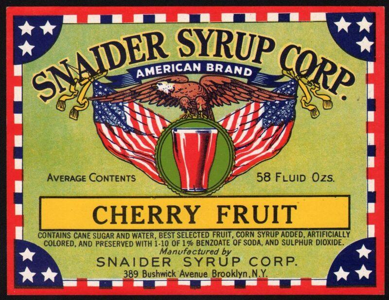 Vintage soda pop bottle label SNAIDER SYRUP CHERRY FRUIT eagle pic Brooklyn NY