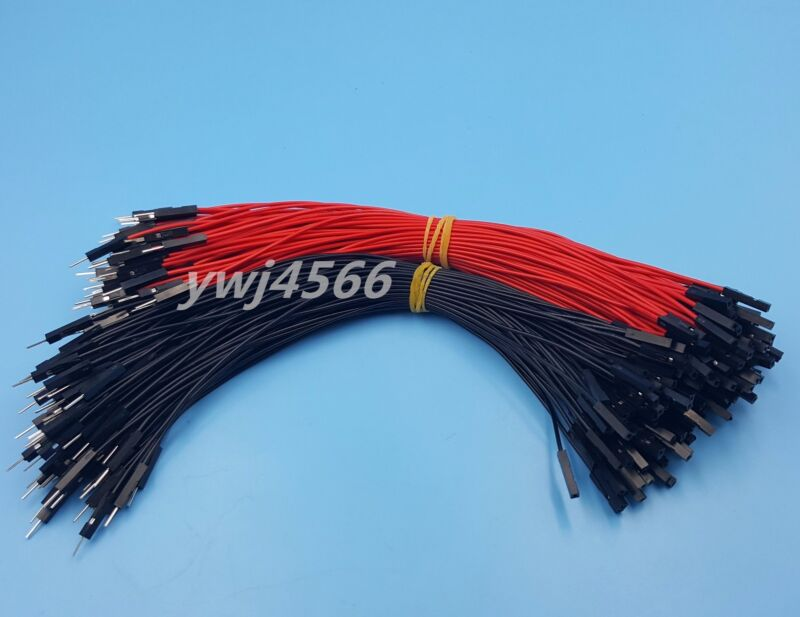 1000Pcs 2.54mm 1P-1P Male to Female Dupont Wire 20cm Jumper Red & Black