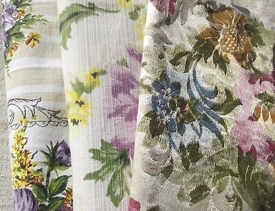 Bundle Vintage French Fabric 1940s Country Cottage Floral material Lilac lemon