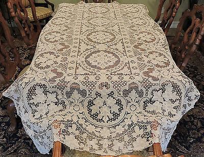 """Vintage Point De Venise Hand Made Needle Lace Tablecloth Ecru 108"""" x 60"""" Antique"""