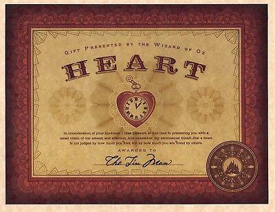 Wizard Of Oz   The Emerald City Certification Of Heart   Tin Man   Prop Replica