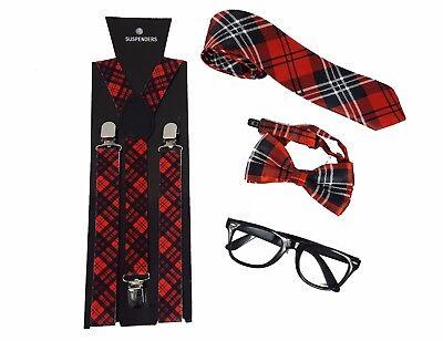 Geek Set Nerd Set Red Tartan Geek Set Tie  Tartan Braces Bow Ties Fancy Dress