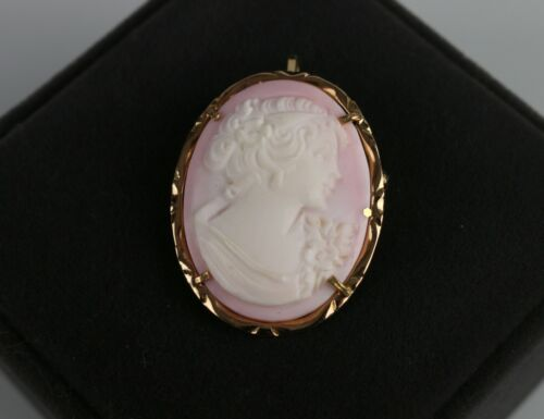 Italy 14K Yellow Gold Natural Shell Cameo Pin Brooch / Pendant ~ Signed OTC