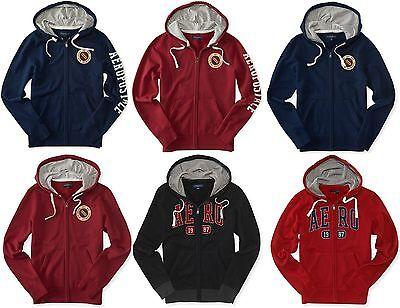 AERO Aeropostale Men Full Zip Logo Hoodie Hooded Sweatshirt  XS,S,M,L,XL,2XL,3XL