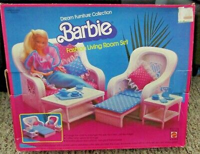 Barbie Dream Furniture Collection Fashion Living Room Set Faux Wicker Fold-Out