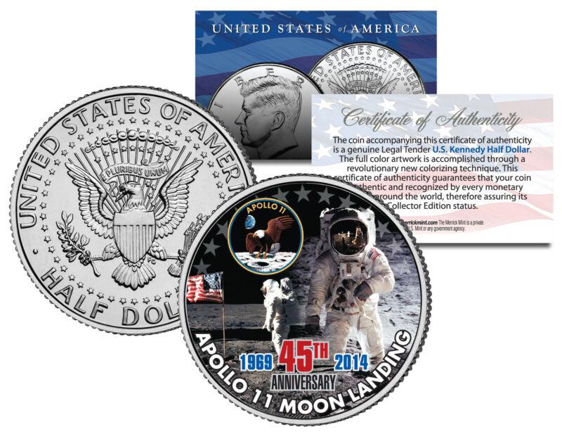 APOLLO 11 MOON LANDING *45th Anniversary* Colorized JFK Half Dollar US Coin NASA