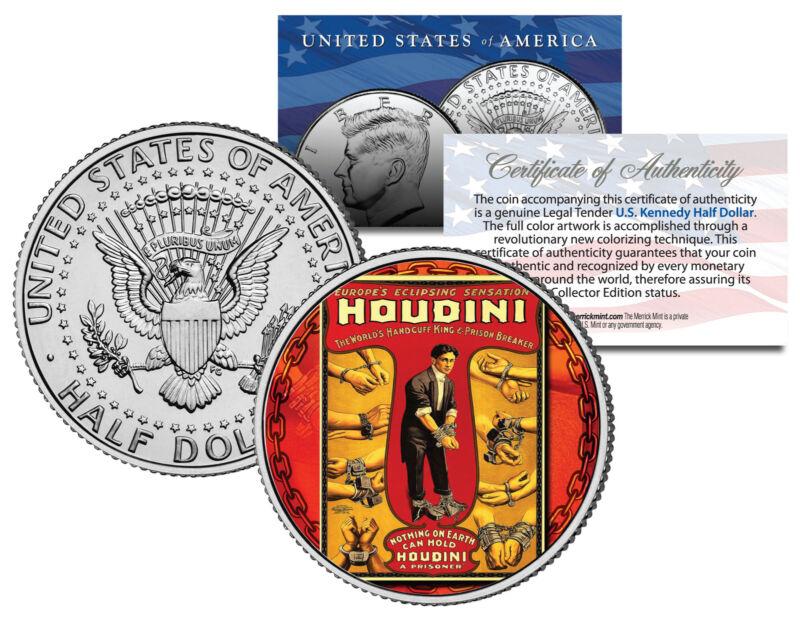 HARRY HOUDINI * Handcuff King * Colorized JFK Kennedy Half Dollar U.S. Coin