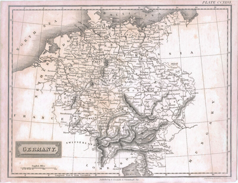 ORIGINAL ca 1819 MAP OF GERMANY PUBLISHED BY A. CONSTABLE & Co. EDINBURGHI, RARE