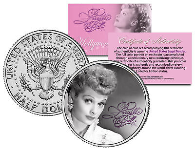 "Lucille Ball ""I Love Lucy Portrait"" JFK Kennedy Half Dollar US Coin *Licensed*"