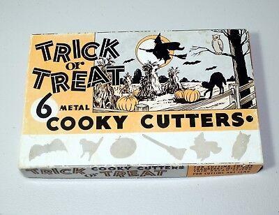 6 Vintage Metal Halloween Trick or Treat Cookie Cooky Cutters in Box See Pics  - Vintage Halloween Pics