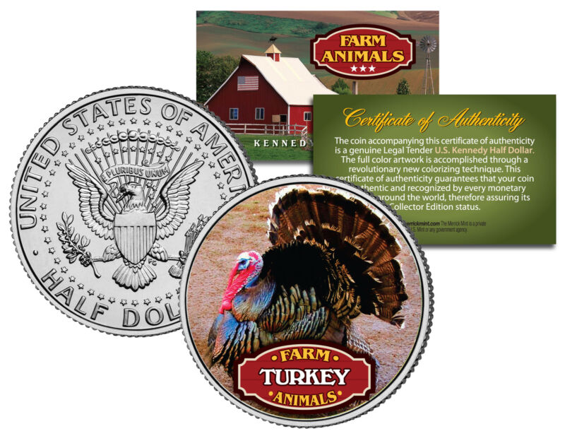 TURKEY * Collectible Farm Animals * JFK Kennedy Half Dollar US Colorized Coin