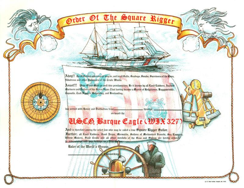 Order of the Square Rigger Certificate new unused US Naval Institute