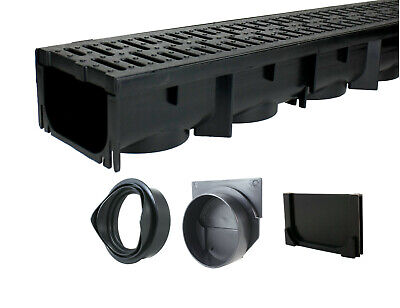 Channel Drain Grate - Drainage Trench - Channel Drain With Grate - Black Plastic - 39