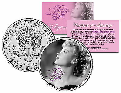 "Lucille Ball ""I Love Lucy Profile"" JFK Kennedy Half Dollar US Coin *Licensed*"