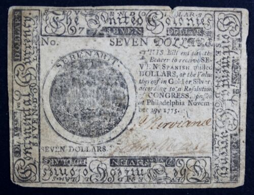 1775 Colonial Currency 7 Dollars Philadelphia