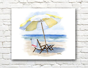 Beach Chair With Umbrella Painting