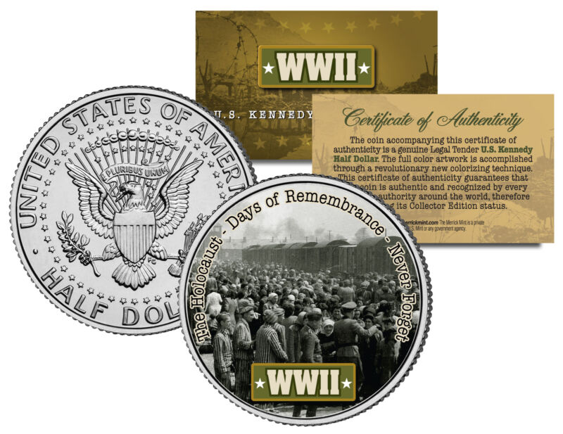 World War II THE HOLOCAUST Colorized JFK Half Dollar US Coin DAYS OF REMEMBRANCE