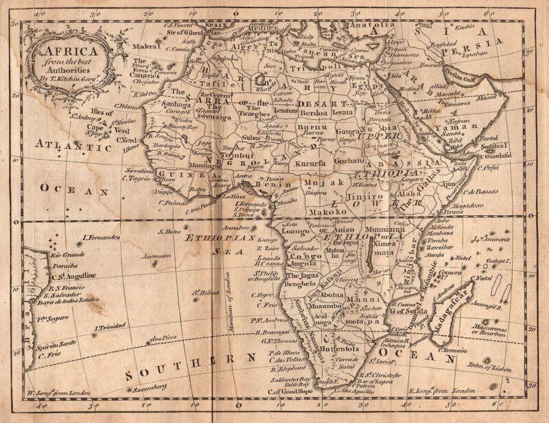 Rare Original 1759 Antique World Continent Map AFRICA Morocco Egypt Sahara Nile