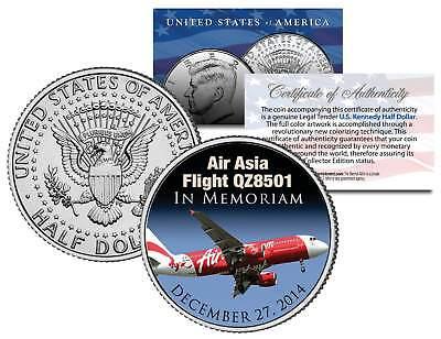 Air Asia Flight Q28501   In Memoriam   Colorized 2014 Jfk Half Dollar U S  Coin