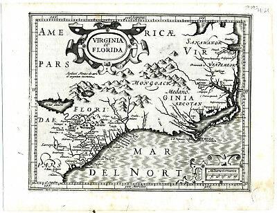 1606 Genuine Antique map Virginia & Florida. G. Mercator