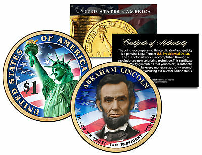 COLORIZED 2-sided 2010 ABRAHAM LINCOLN Presidential $1 Dollar US President Coin
