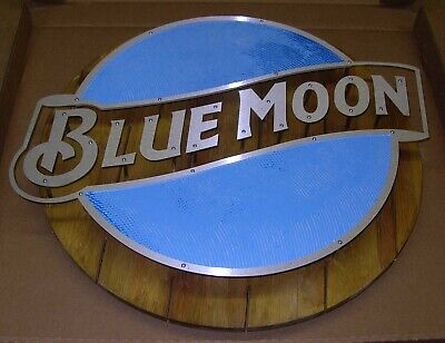BLUE MOON WOOD AND METAL BAR SIGN, LIMITED EDITION OF 500 Moon Wood Sign