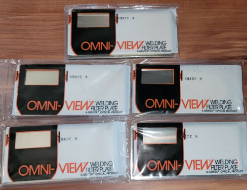 """(5) NOS Vtg Omni-View Welding Lens Shade Filter Plate 2"""" x 4.25"""" Gold Shade 9"""