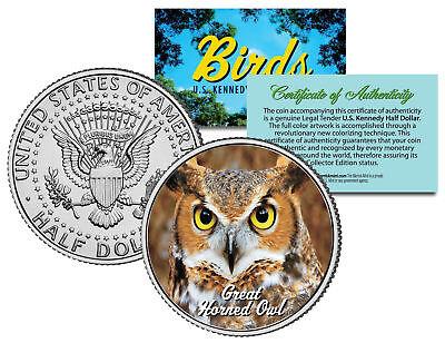 Great Horned Owl Animals - GREAT HORNED OWL BIRD JFK Kennedy Half Dollar US Colorized Coin