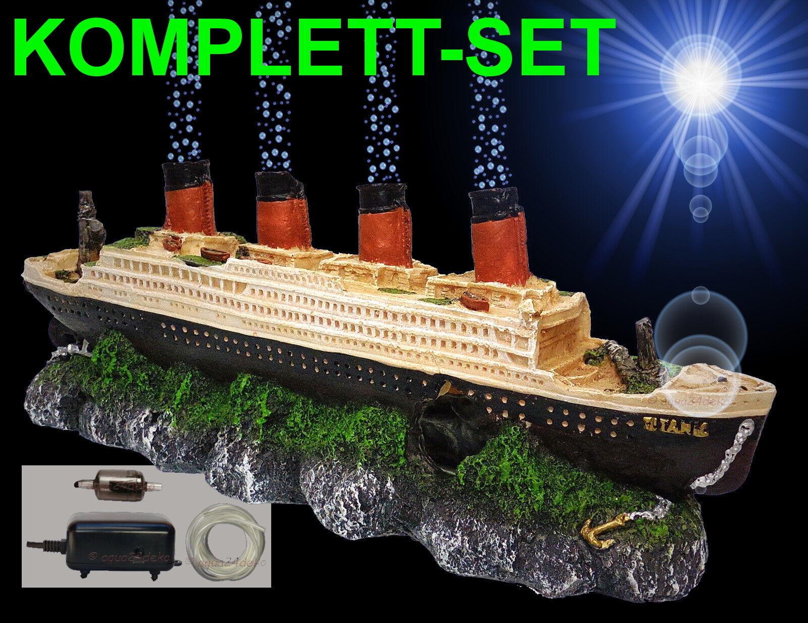 komplett Set ! ! 🍀 TITANIC ➕ LUFTPUMPE 🍀 ➕ Zubehör Aquarium Deko Schiffswrack
