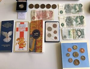 Lot of 1890s-1990s British Coins, Coin Sets, & Banknotes
