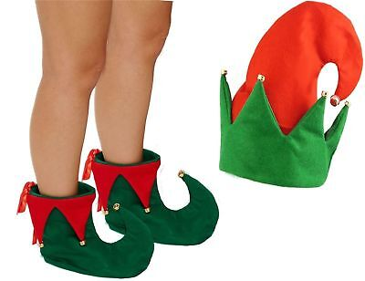 Elf Boots and Hat Jester Pixie Shoes Hat Christmas Fancy Dress Costume - Elf Hat And Shoes