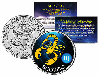 Scorpio Horoscope Astrology Zodiac Kennedy U S  Colorized Half Dollar Coin