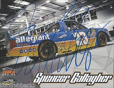 Signed 2016 Spencer Gallagher  Allegiant Travel Gms   23 Nascar Truck Postcard