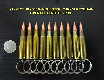 ( LOT OF 10 ) REAL BULLET KEYCHAIN 7.62X51 308 WINCHESTER FMJ