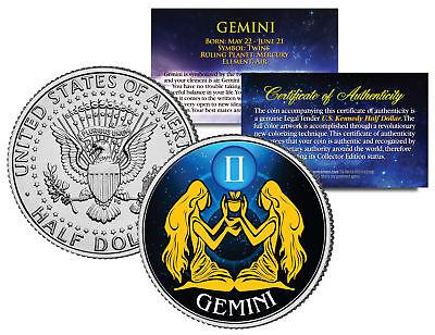 GEMINI Horoscope Astrology Zodiac JFK Kennedy US Colorized Half Dollar Coin