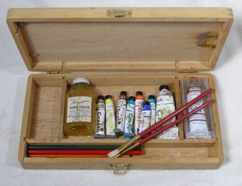 Vintage Oil Paint Set Craftint Grumbacher + Loew Cornell Brush Pencils Varnish