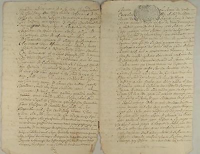 FRANKREICH Org Handschrift 1750 Dokument Kalligrafie französisch Schrift Stempel