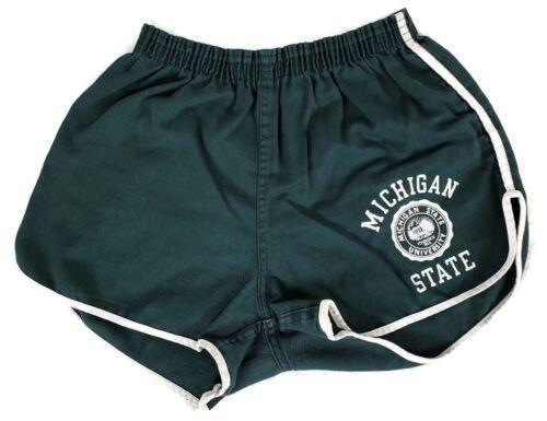 Vintage Champion Michigan State University Green Gym Shorts Sz M (32-34) 1970s?