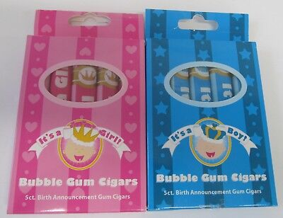 Baby Shower Candy - It's a Girl/Boy Bubblegum Cigars  (2 Boxes) - Gender Reveal](Gender Reveal Boxes)