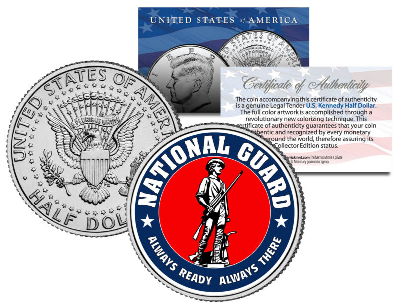 NATIONAL GUARD Colorized JFK Kennedy Half Dollar U.S. Coin Collectible MILITARY