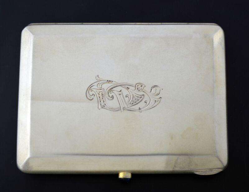 Vintage Latvia Latvian 875 Fine Silver Vermeil Engraved Cigarette Case With Mono