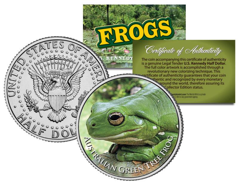 AUSTRALIAN GREEN TREE FROG * Collectible Frogs * JFK Kennedy Half Dollar US Coin