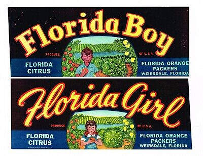 GENUINE ORANGE CITRUS CRATE LABEL VINTAGE FLORIDA 1930 STRIPS FLORIDA BOY GIRL  - Orange Crate Label