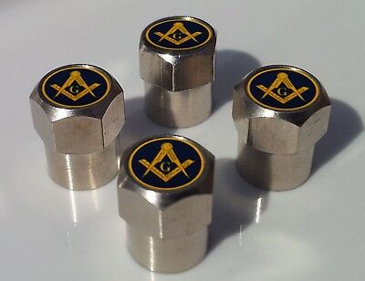 FREEMASON MASONIC BLUE & GOLD SYMBOL ALUMINIUM TYRE VALVE CAPS FOR TIRE WHEEL