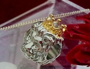 Silver and gold coloured lion w crown bead fits Pandora bracelet