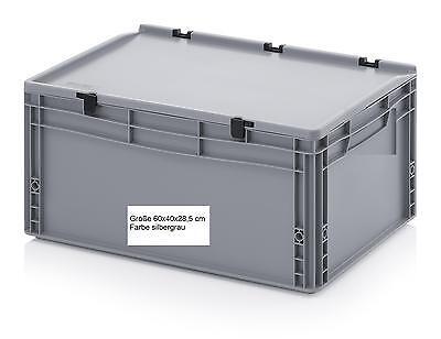 Stabile Werkstatt + Lager Behälter mit Scharnier-Deckel 60x40x28,5 cm Kunststoff