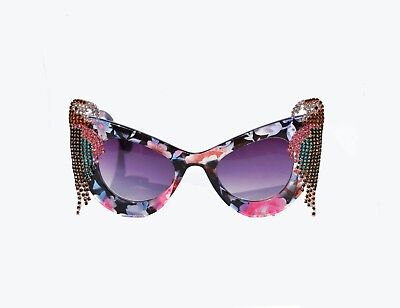 Tropical Rhinestone Parrot Floral Sunglasses Retro Pinup Sunglasses - Pink, (Tropical Sunglasses)