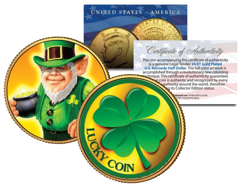 LEPRECHAUN *Four Leaf Clover* JFK Half $ 24K Gold Plated LUCKY COIN St Patrick